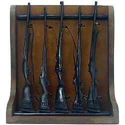 Better & Best 019181 - Figura Decorativa de latón y Madera, armero con 5 Rifles, Color Negro