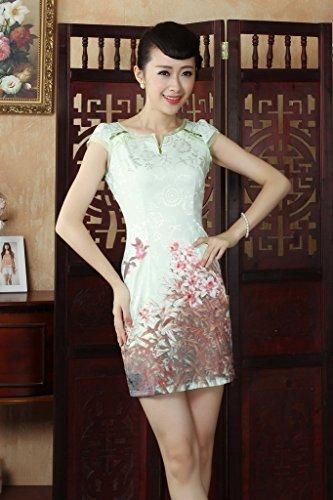 Smile YKK Femme Robe Fasion Classique Cheongsam Qipao Coton Vert