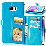 ubmsa-luxury Leder Brieftasche Flip Ständer Schutzhülle für Samsung Galaxy S4/S5/S6/s6edge/s6edgeplus/Note 3/Note 4/Note 5/J1/J5, für Galaxy Grand Prime sm-g530F [Eingebauter 9Kreditkartenfächer] Blau blau Note 5