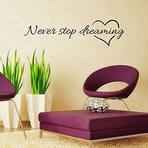 Never Stop Dreaming-Vinyl Citazione a parete adesivi, arte murale, decorazione 9341, 57 cm x 15 cm)