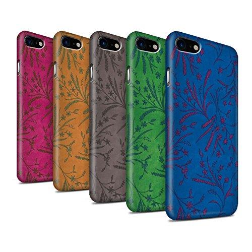STUFF4 Matte Snap-On Hülle / Case für Apple iPhone 8 / Rot/Grün Muster / Weizen Blümchenmuster Kollektion Pack (8 pcs)
