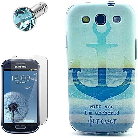 Lusee® la caja silicone de TPU del gel para Samsung Galaxy S3 I9300 / S3 Neo I9301 Funda Cáscara La caja posterior a parachoques La caja posterior de cubierto + la pantalla protector gratuido,el enchufe de polvo prueba gancho