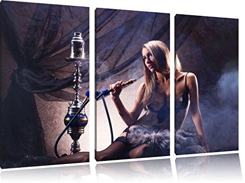 Schöne Frau mit Shisha 3-Teiler Leinwandbild 120x80 Bild auf Leinwand, XXL riesige Bilder fertig gerahmt mit Keilrahmen, Kunstdruck auf Wandbild mit Rahmen, gänstiger als Gemälde oder Ölbild, kein Poster oder Plakat