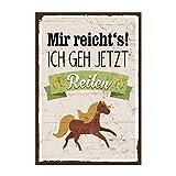 Holzschild mit Spruch – MIR REICHT´S! ICH GEH JETZT REITEN! - shabby chic retro vintage nostalgie deko Typografie-Grafik-Bild bunt im used-look aus MDF-Holz, Schild, Wandschild, Türschild, Holztafel, Holzbild mit Zitat / Aphorismus als Geschenk und Dekoration zum Thema Reiten, Reitsport und Pferd von TypeStoff (S - 10 x 15 cm cm)
