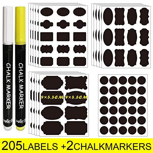 Ezigoo etichette di lavagna - 205 adesivo lavagna riutilizzabile + 2 marcatore di gesso, per decorare barattoli, vino, dispensa, casa e ufficio