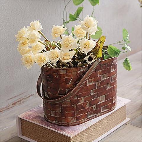 VANCORE Caraffa in metallo vernice muro di mattoni stile fiori brocca vaso Oval-iron