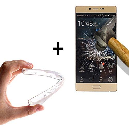 WoowCase - [ Elephone M2 Schutzhülle Silikon Transparent [ +1 Schutzglas ] 9H Panzerglas Bildschirm Schutzfolie, Hülle Case TPU