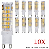 Pack de 10, 7W G9 LED Bombillas Spotlight 75 SMD 2835 Lámparas Halógenas Equivalentes a 70W 550LM AC 220V Blanco Cálido 3000K Cerámica Luces Led, Spot luz
