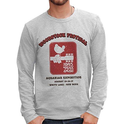 MUSH Sweatshirt Woodstock Festival Music - Musik by Dress Your Style - Herren-M Grau