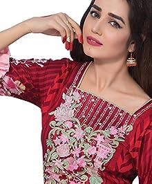 b6aa694e9a Surkhab Impressions Women's Original Pakistani Pure Lawn Cotton Embroidered  Unstitched Salwar Suit Dress Material
