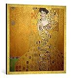 Gerahmtes Bild von Gustav Klimt Bildnis Adele Bloch-Bauer I, Kunstdruck im hochwertigen handgefertigten Bilder-Rahmen, 70x70 cm, Gold Raya