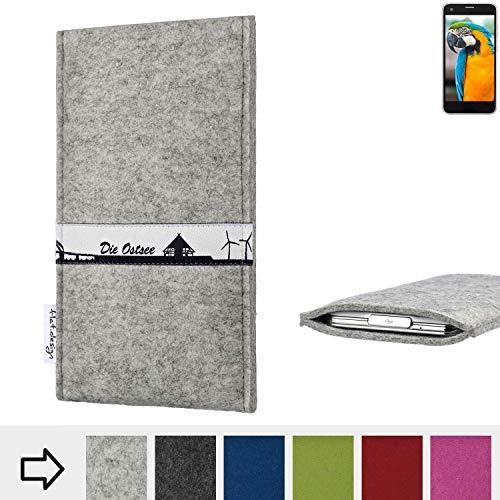 flat.design für Vestel V3 5040 Schutz Hülle Handy Case Skyline mit Webband Ostsee - Maßanfertigung der Schutztasche Handy-Tasche aus 100% Wollfilz (hellgrau) für Vestel V3 5040
