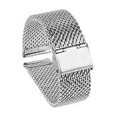 Beauty7 - 20mm Silber Modeschmuck Milanaise Maschen Edelstahl Uhrenarmband Uhrarmband Watchband mit Faltschließe
