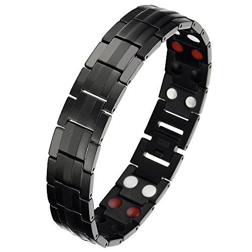 Raffinierten Herren Schwarz Titan Therapy Armband mit Magneten und Germanium; Link-Tool zum Entfernen Enthalten