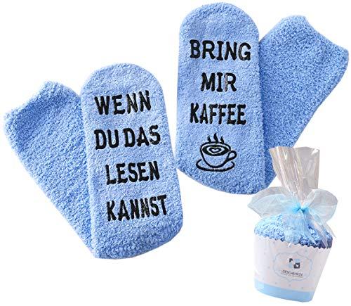 Geschenk für Frauen, WENN DU DAS LESEN KANNST BRING MIR WEIN/KAFFEE SOCKEN, Geburtstagsgeschenk für Freundin, Schwester-Geschenk, witziges Wein-Zubehör (Blau-Kaffee)