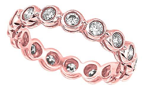 banda anello set ETERNITY anniversario 1 carato di diamanti brillante rotondo lunetta Dimensione
