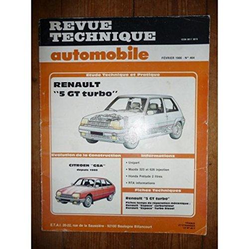 Rta-revue Techniques Automobiles - Supercinq GT Turbo Revue Technique Renault Etat - Bon Etat