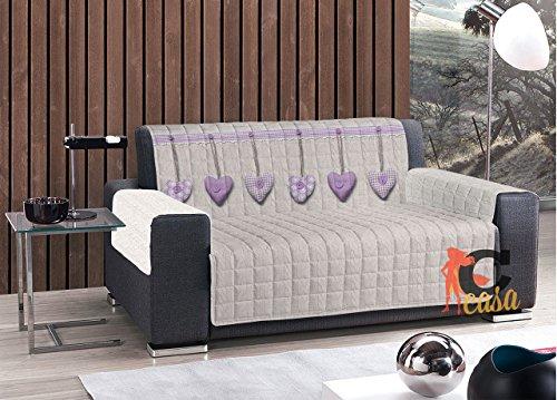 Sofaüberwurf, Sesselüberwurf, gesteppt, Modell: Herzen 3 Posti Lilla