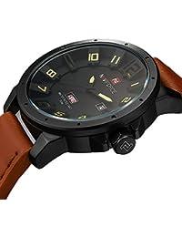 Naviforce reloj de cuarzo fecha semana reloj deporte hombres impermeable de piel auténtica Original 9061marrón negro