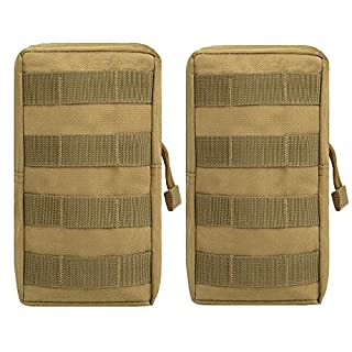 AIRSOFTPEAK Tactical Molle Pouch Nylon EDC Waist Pack Saddlebag Utility Gadget Belt Bag for Outdoor Hiking Camping Cycling (Tan)