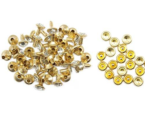Weddecor 10x 8mm, Farbe: ab, Acryl mit Strass mit Zubehör für Rivet Nieten, Leder, zum Basteln, Designer-Gürtel, Kleidung, Taschen, Hunde-Halsbänder, metall, Clear and Gold, 10 (Acryl Strass Designer)