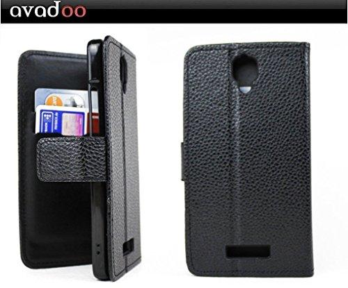 avadoo® Archos 50d Oxygen Flip Case Cover Tasche Schwarz mit Magnetverschluss und Dualnaht als Cover Tasche Hülle