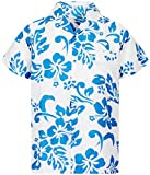 V.H.O Funky Chemise Hawaienne, Hibiskus White Turquoise New, M