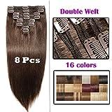 Echthaar Extensions Clip in Remy Haarverlängerung für komplette Haare 8 Tressen Doppelt Dicke 60cm-170g(#2 Dunkelbraun)