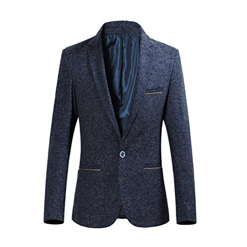 Zhuhaitf Style décontracté Mens Suit Jacket Slim Fit Outerwear One Button Blazer blue