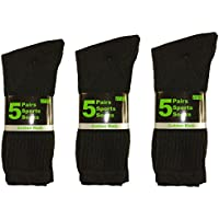 Sockstack® 15 Pairs Of Men's Sport Socks, Black Cotton Rich Cushion Sole Socks, Size 6-11