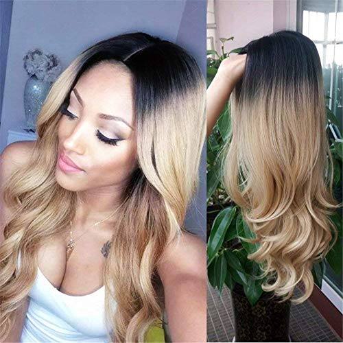 Hanne resistente al calor sintético peluca Ombre color 1B/27Largo y Negro Fiesta de cabello rubio peluca
