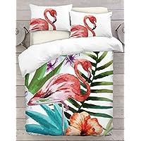 Adam Home 3D Digital Printing Bett Leinen Bettwäsche-Set Bettbezug + 1x Kissenbezug - Standing Flamingo Theme (Alle Größen)