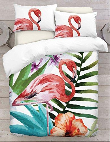 Adam Home 3D Digital Printing Bett Leinen Bettwäsche-Set Bettbezug + 2x Kissenbezug - Standing Flamingo Theme (Alle Größen)