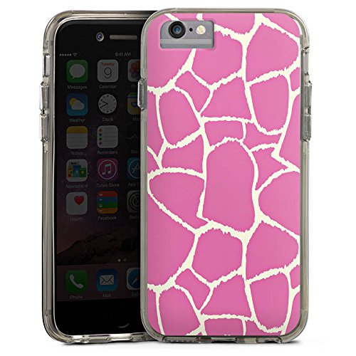 Apple iPhone 8 Bumper Hülle Bumper Case Glitzer Hülle Giraffe Pink Animal Print Bumper Case transparent grau