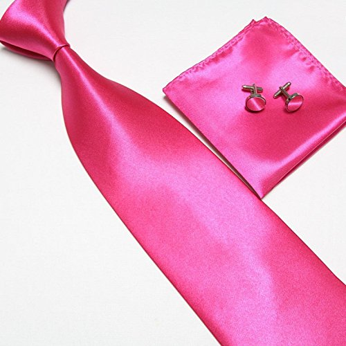 cravate-pochette-bouton-de-manchettes-satinee-rose-foncee-neuf