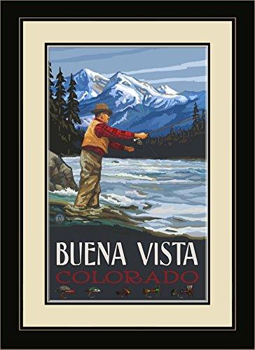 Northwest Art Mall Buena Vista Colorado Fly Fisherman Stream Berge gerahmt Art Wand von Paul A. lanquist, 13von 40,6cm