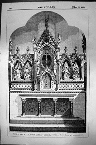 Stampa Antica dell'Arco 1881 di Dover Pugin Pugin della Chiesa Cattolica Romana dell'Altare del Retablo