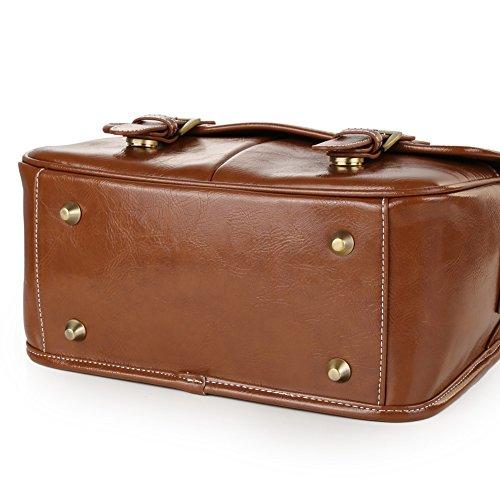 50a73ce6bd Koolertron impermeabile borsa per fotocamera in pelle sintetica, borsa per  fotocamera DSLR custodia vintage DSLR borsa a tracolla messenger bag per  Canon ...