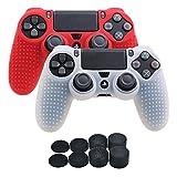 YoRHa Borchie Cassa pelle copertura silicone skin cover per Sony PS4/Slim/Pro Controller x 2 (bianco + rosso) Con PRO presa del pollice thumb grips x 8