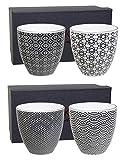 Tokyo Design Studio, Nippon Black, 4er Becher-Set ohne Henkel, 9.8 cm, Ø 8.7cm, 250 ml, Porzellan