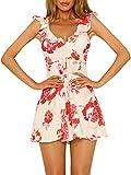 Terryfy Damen Kurz Sommer Kleid Schickes Ärmellos V Ausschnitt Boho Blumen Spaghettiträger Minikleid mit Volant Rot