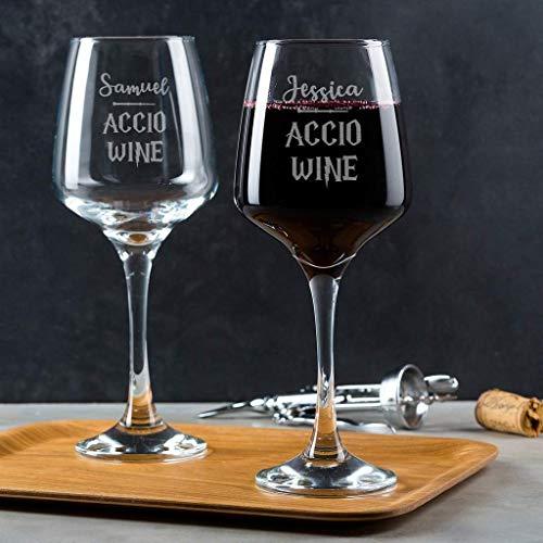 (Personalisiertes Harry Potter Weinglas, Harry Potter Weihnachten, Weinglas mit Gravur, Weihnachtsgeschenke für Frauen, Accio Wein, Harry Potter Geschenke, Harry Potter Fanartikel)