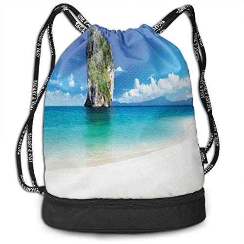 MLNHY Printed Drawstring Backpacks Bags,Big Tall Poda Cliff Rock In The Sea In Asian Coastline Exotic Vacation Scene,Adjustable String Closure -