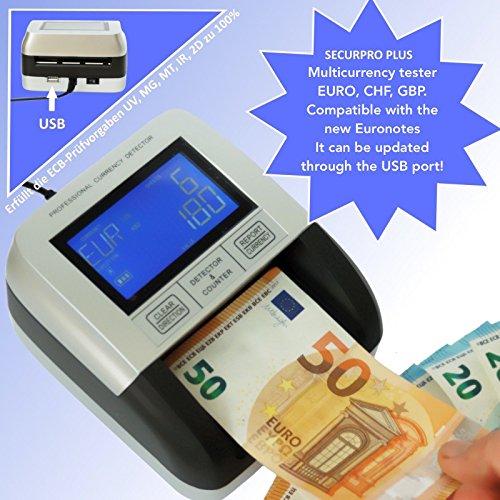 Geldscheinprüfer Multiwährungtester Securpro Plus Banknotenprüfer Banknotentester Falschgeldprüfer Falschgeldtester mit Zählfunktion