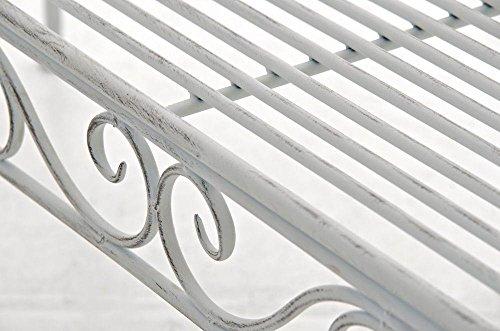 Gartenbank aus Metall in antik Weiß, eine romantische Nostalgie Liege-Bank – Ruhebank mit Ornamenten im Landhausstil - 7