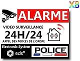Lot de 8 Autocollants Dissuasifs « Alarme Vidéo Surveillance » Anti cambriolage pour Maison Immeuble Commerce Garage. Stickers Vidéo Surveillance de Qualité Professionnelle (Police)