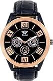 swissrock Gold Zifferblatt mit schwarzem Lederband Analog Herren-Armbanduhr, Armbanduhr Geschenk