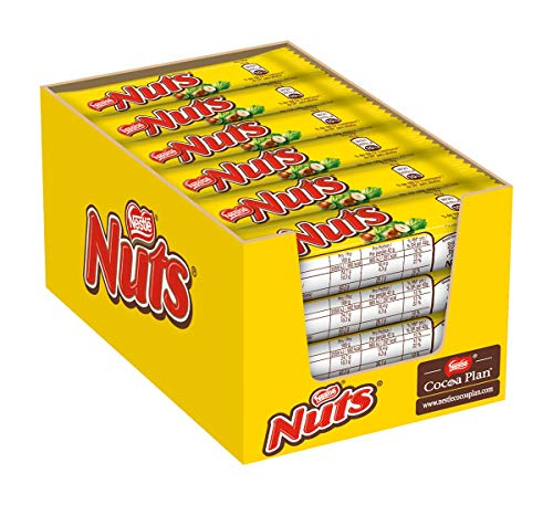Nestlé NUTS Haselnuss Schokoriegel (mit Karamellfüllung ganze Haselnüsse und leckere Candy Creme, ummantelt mit Milchschokolade) 24er Pack (24 x 42g)