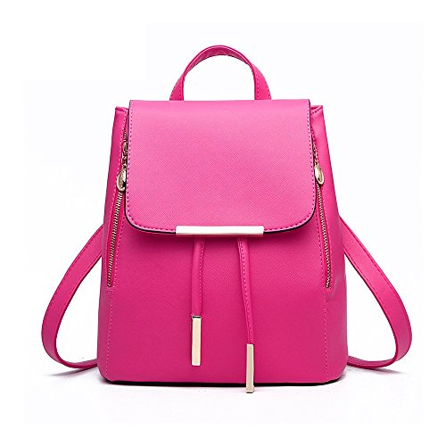 Rucksackhandtaschen,SEARCHALL mode umhängetasche rucksack pu - leder frauen mädchen damen rucksack reisetasche Pink