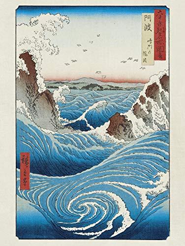 Close Up Lámina/Impresión de Arte Hiroshige - Naruto Rapids/Raudales de Naruto (30cm x 40cm)